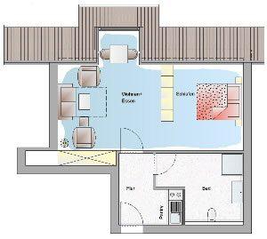 1-Raum-Appartment im Ostseebad Binz auf der Insel Rügen Typ-D