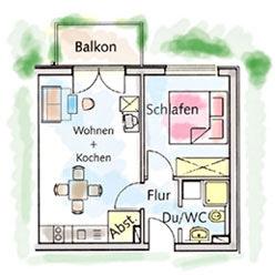 2-Raum-Appartment im Ostseebad Binz auf der Insel Rügen Typ-A