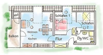 3-Raum-Appartment im Ostseebad Binz auf der Insel Rügen Typ-C